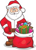 Vector illustration of Santa Claus with sack full of gifts.
