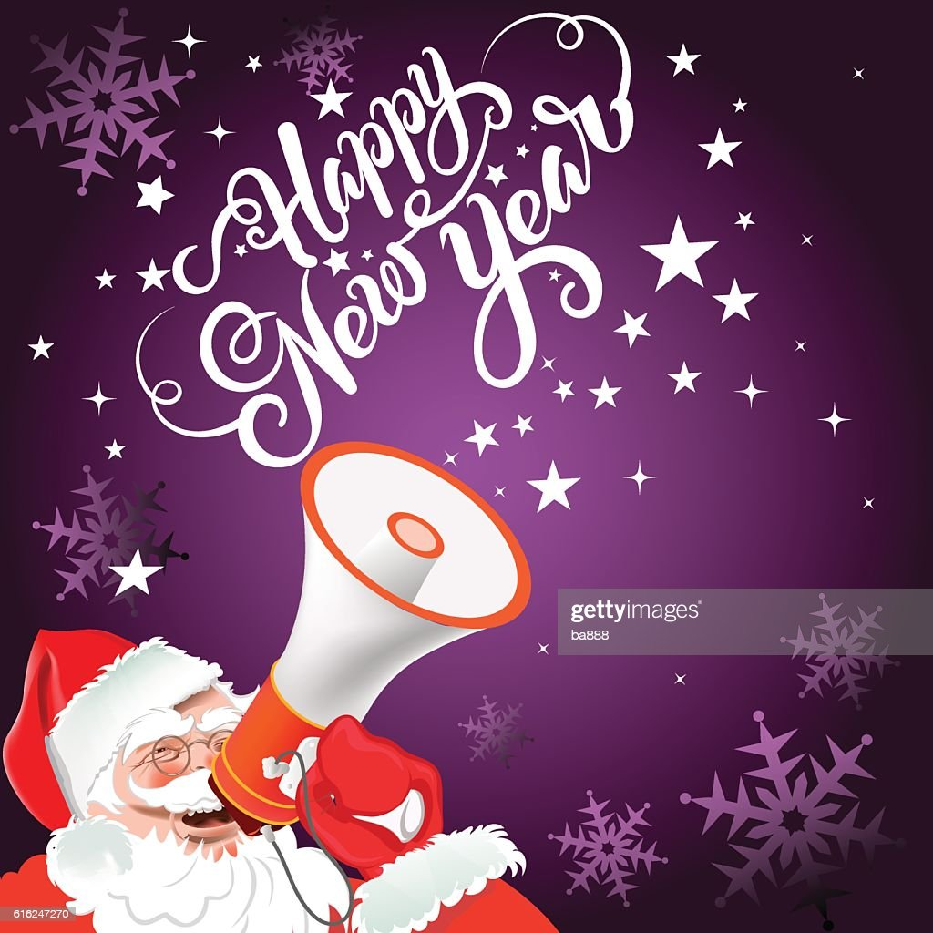 Santa Claus with megaphone, happy new year text, christmas card : Vector Art