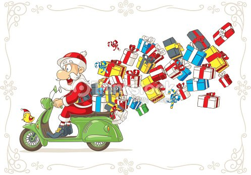 santa claus with presents on scooter vector cartoon vector art - Santa Claus With Presents