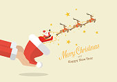 Santa claus with reindeer sleigh flying out of the santa hat greeting card. Vector illustration