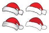 Santa hat, Christmas cap icon set, symbol, design. Winter vector illustration isolated on white background.