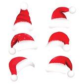 Santa Hats, Isolated On White Background, Vector Illustration