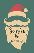 Christmas Santa Vintage Poster template with lettering. Vector illustration.