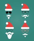 Santa Klaus fashion silhouette hipster style, illustration icons