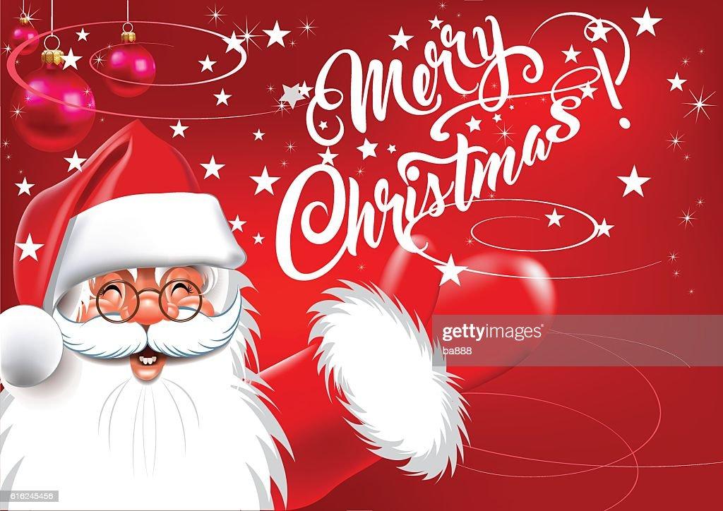 santa, merry christmas text, christmas card : Arte vectorial