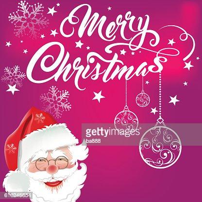 santa, merry christmas text, christmas card : Arte vetorial