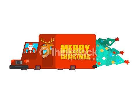 Santa Post Car Carry Christmas Tree And Gifts Claus And Deer Carry ...