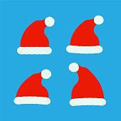 Santa red hats vector. Christmas santa clothes hat.