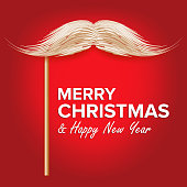 Santa s Mustache Vector. Classic Christmas Realistic White Mustache With Stick. Isolated