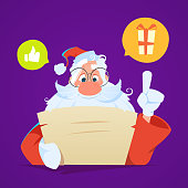 Santa sitting at the table and reading letter. Color vector illustration.