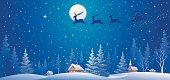 Vector illustration of Santa's sleigh flying over village