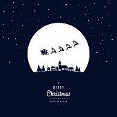 Santa sleigh flying into the winter village christmas night