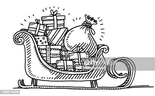 Santa Sleigh Gift Boxes Drawing Vector Art Getty Images
