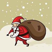 Santa sneaking in the snow, vector illustration