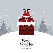 santa stuck in chimney winter snowy landscape
