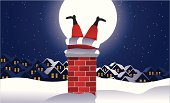 Santa Claus is up on the rooftop, stuck in the chimney. Grouped for easy editing. See similar files: