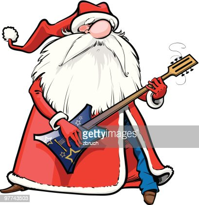 Santa with rock guitar : Vectorkunst