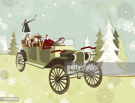 Santa's car : Vector Art