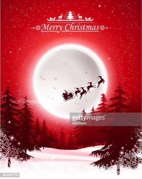 santa's sleigh on night