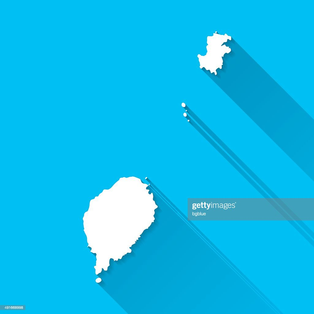 Sao Tome And Principe Map Blue Background Long Shadow Flat Vector - Sao tome and principe map