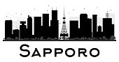 Sapporo City skyline black and white silhouette. Vector illustration. Simple flat concept for tourism presentation, banner, placard or web site. Business travel concept. Cityscape with landmarks
