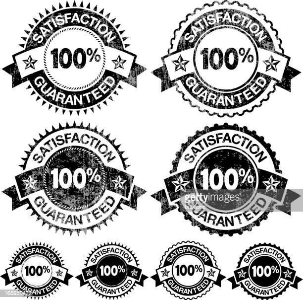 100% soddisfazione garanzia distintivi bianco e nero icona set vettoriale