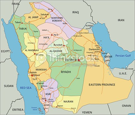 Saudi Arabia Editable Political Map With Labeling Vector Art ...