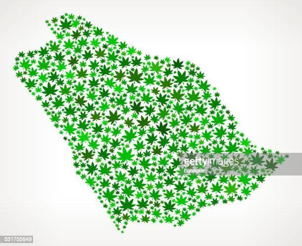 Saudi Arabia Map royalty free vector Marijuana Leaves Weed graphic