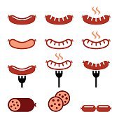 Vector icons set of food - sausages isolated on white