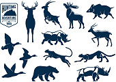 Hunting animals silhouette icons. Stag and deer, capra or mountain goat, reindeer with antler and wapiti, cervus and wild boar, rhino or rhinoceros, panther and american grizzly bear, duck bird. Hunti