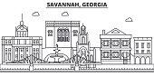 Savannah, Georgia architecture line skyline illustration. Linear vector cityscape with famous landmarks, city sights, design icons. Editable strokes