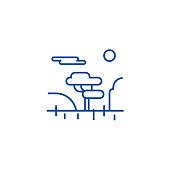 Savannah line concept icon. Savannah flat  vector website sign, outline symbol, illustration.