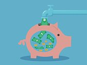 Save money concept .piggy bank money box. Vector design