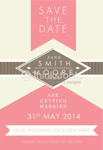 Save the date formal invitation vector art thinkstock save the date formal invitation vector art stopboris Images