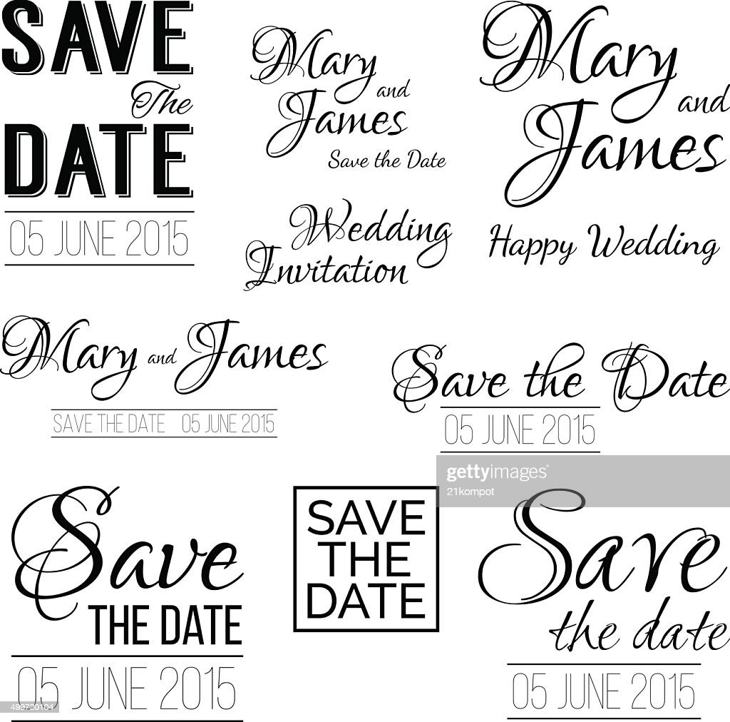 Save The Date Logos Set Of Wedding Invitation Vintage Typography
