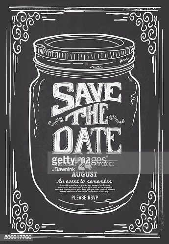 Save The Date Mason Jar Chalkboard Invitation Design Template