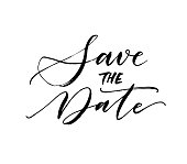 Save the date card. Wedding phrase. Ink illustration. Modern brush calligraphy. Isolated on white background.
