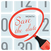Save the date poster with red circle mark on calendar made by red pencil vector illustration. Memory note on list with days, memorable event
