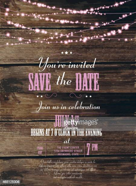 Save the date string of lights  invitation design template