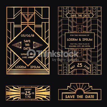 save the date wedding invitation card art deco vector art thinkstock