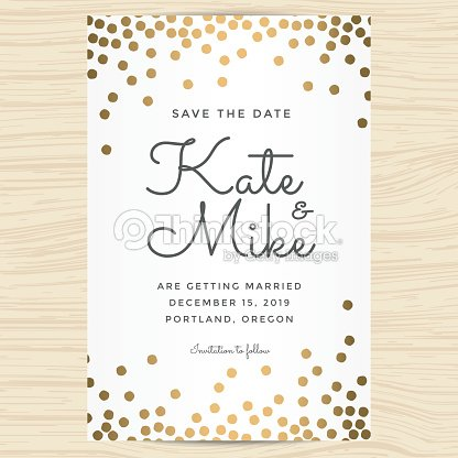 Save the date wedding invitation card with golden dots background save the date wedding invitation card with golden dots background vector art stopboris Choice Image