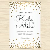 Save the date, wedding invitation card template with golden color dots  background - Vector illustration.