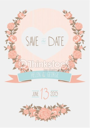 Save The Date Wedding Invitation Shabby Chic Template Vector Il Art