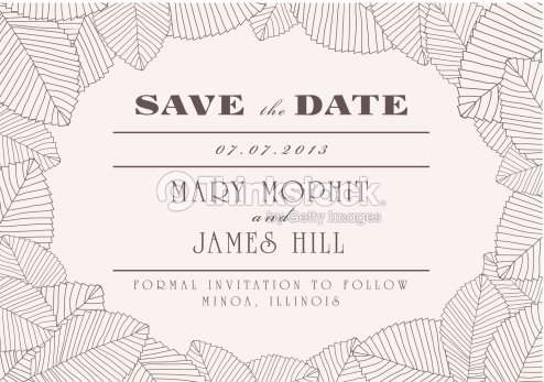 save the date with ornaments of leaves vector art thinkstock