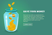 Save your money. Concept picture with glossy jar and gold coins. Vector illustration. Dollar in bottle saving, moneybox banner glassware