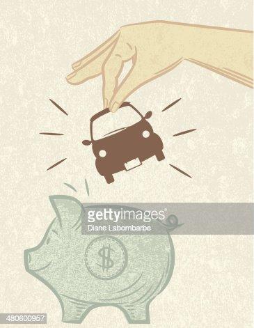 Saving For A Car Piggy Bank : Vector Art