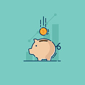 illustration of saving with piggy bank and coin vector flat design