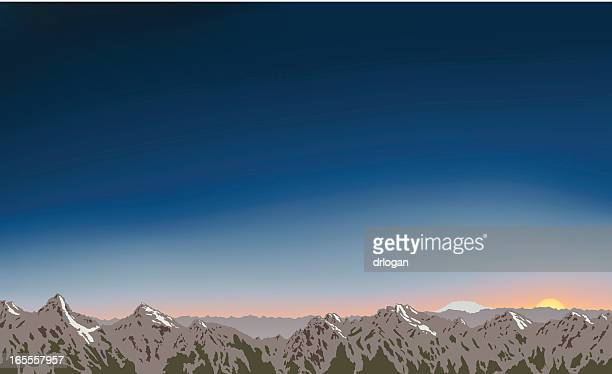 Bergkette Sawtooth Mountains im Morgengrauen