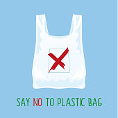 Pollution problem concept. Say no to plastic bag. Cartoon image of cellophane packet with signage calling for stop using polythene package. Vector illustration.