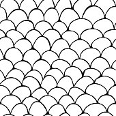 Vector seamless pattern of hand drawn monochrome scale ornament